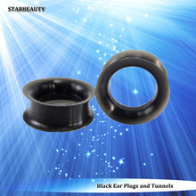 2 pcs/lot Soft Black Ear Piercing Ear Stretcher 14mm Plugs and Tunnels Silicone Tunnel 6mm 8mm 10mm Ear Expander Gauges Earrings(China)