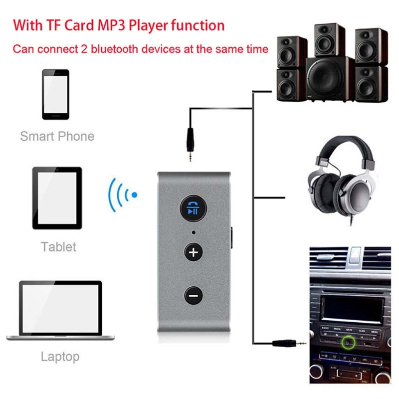 OOTDTY Wireless 3.5mm Bluetooth Audio Receiver TF MP3 Player For Car Speaker Earphone