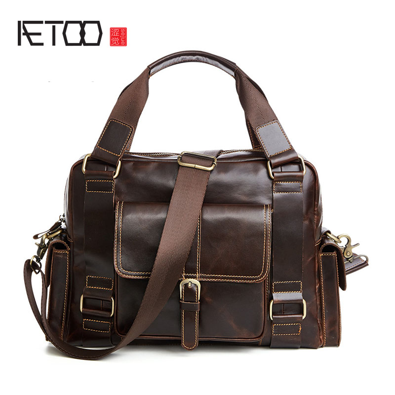 AETOO Fashionable casual leather men bag new first layer of leather men's handbag shoulder Messenger bag famous brand top leather handbag bag 2018 new big bag shoulder messenger bag the first layer of leather hand bag