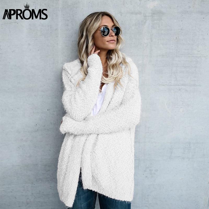 Aproms Pink Hooded Oversized Jacket Coat Winter White Khaki Warm Soft Jackets Women Autumn Chic 2018 Female Overcoat 50128