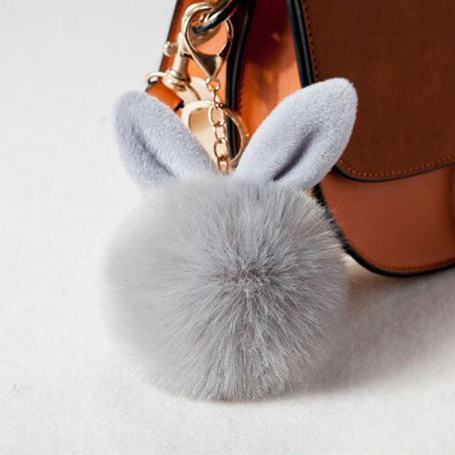 Opshineqo Cute Bunny Key Chains Pom Pom Key Rings Fake Rabbit Fur Ball  KeyChain Women Bag Car keyring Charms Jewelry Wholesale 4bfed919f4