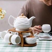 Ceramic cups coffee pots European style bamboo wooden frame coffee tea sets coffee pod holder porcelain bone china tea sets