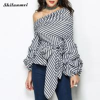 Women blouse Sexy Off Shoulder Striped Solid Black Shirt Summer Ruffle Bodycon Puff long sleeve Tops Fashion Slimming Clothing