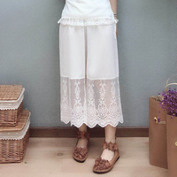 Mori Girl Lace Cotton Hollow Out Loose Pants Women Solid Wide Legged Pants Floral Embroidery Female Casual Sweet Pants Z034