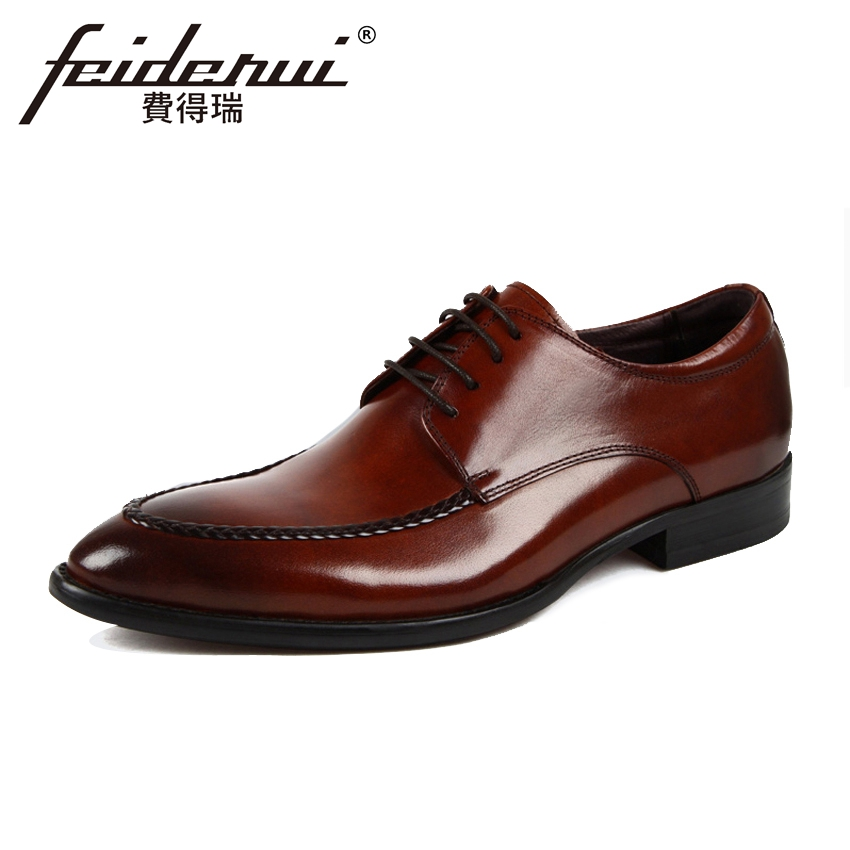 Luxury Formal Dress Handmade Men's Business Footwear Genuine Leather Round Toe Lace-up Derby Man Wedding Party Shoes YMX227 mycolen patent leather genuine leather man shoes flats formal business shoe lace up handmade dress wedding shoes derby hombre