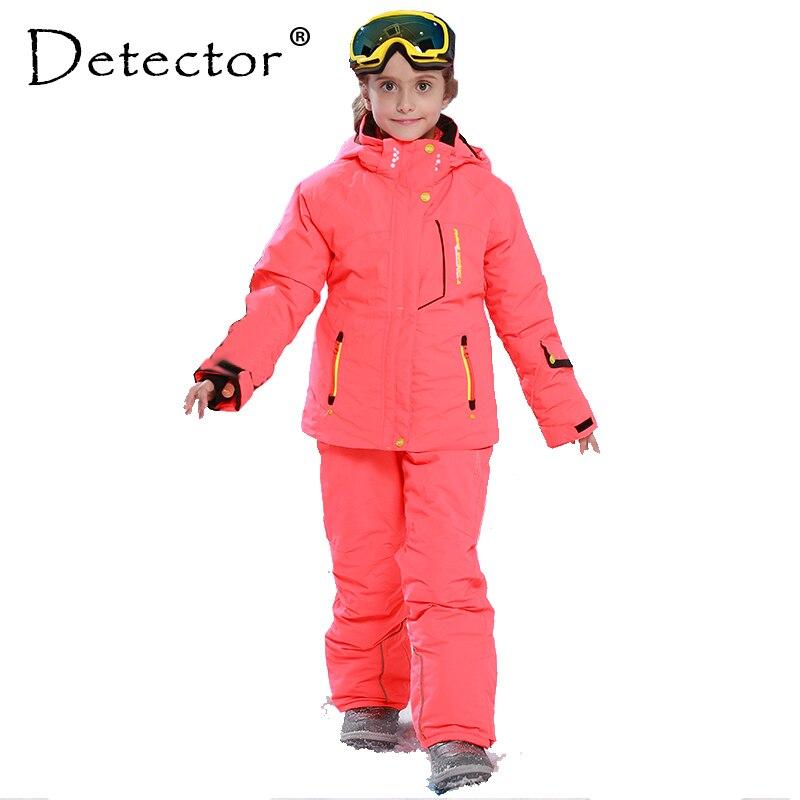 Détecteur fille hiver coupe-vent Ski vestes + pantalon extérieur enfants vêtements ensemble enfants neige ensembles chaud Ski costume pour garçons filles
