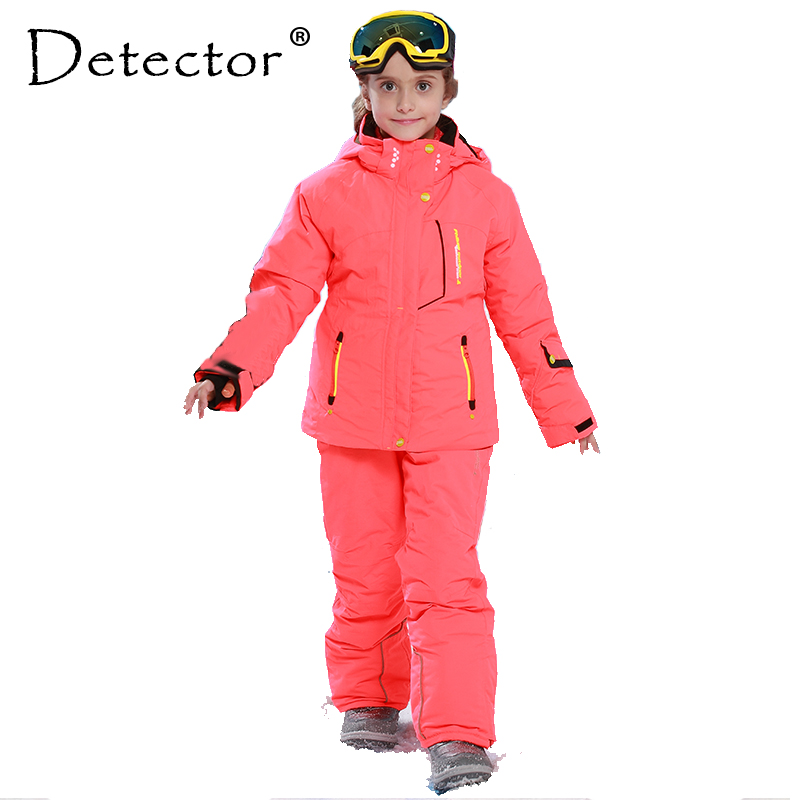 Detector Girl Winter Windproof Ski Jackets + Pants Outdoor Children Clothing Set Kids Snow Sets Warm Skiing Suit For Boys Girls 2017 winter children clothing set russia baby girl ski suit sets boy s outdoor sport kids down coats jackets trousers 30degree