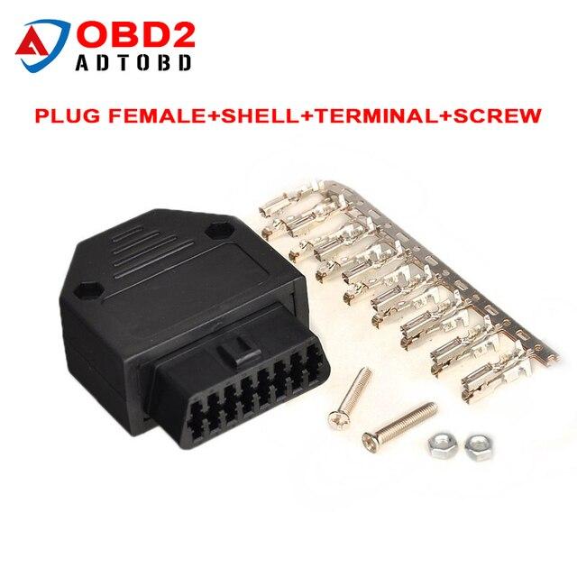 US $1 64 |OBD2 OBD II OBD 2 16 Pin Connector Female Diagnostic Tool OBD  Connector Plug+Shell+Terminal+Screw Diagnostic tool For daewoo-in Car