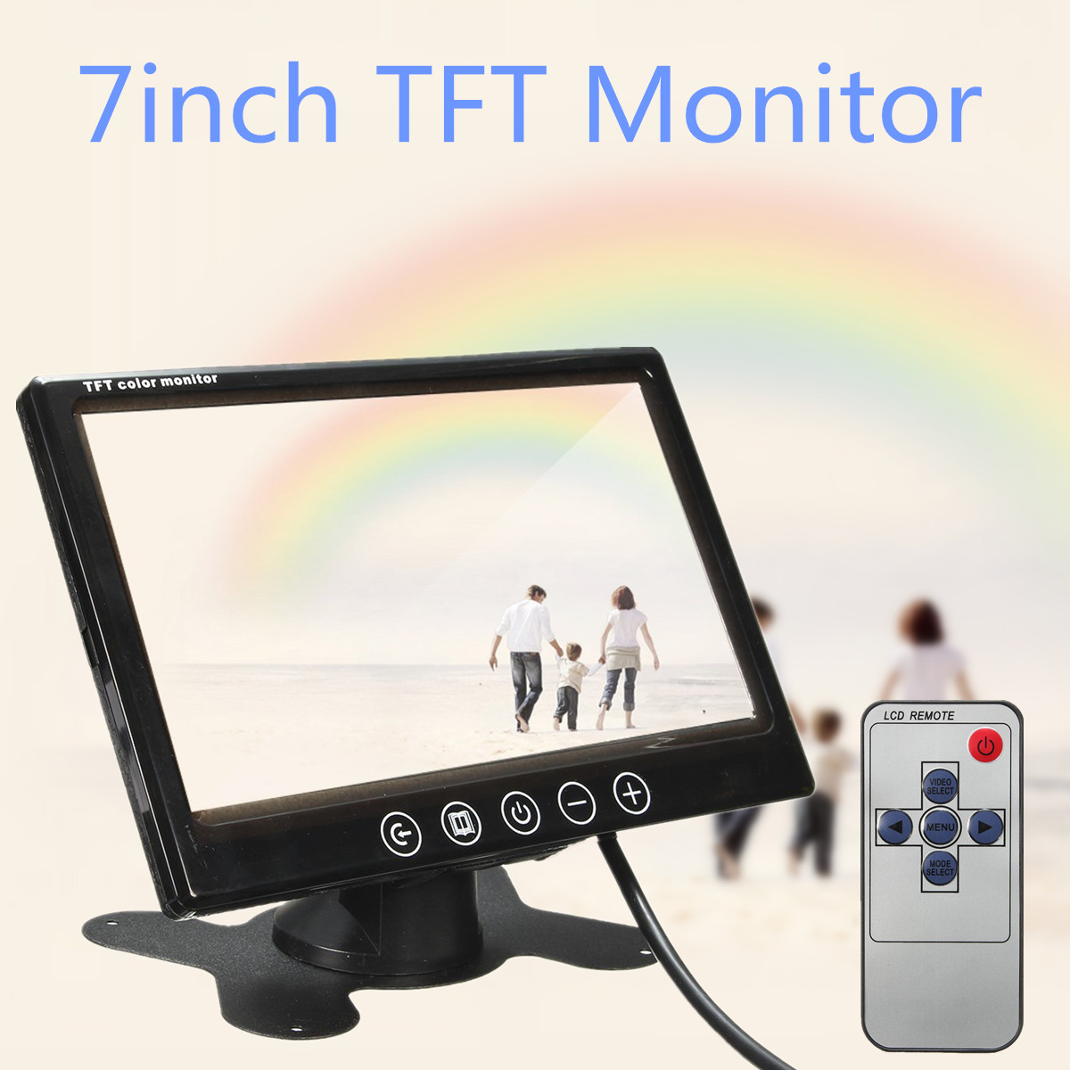 где купить 7 inch TFT LCD Car Monitor Rearview Screen HDMI VGA DVD Digital Display HD Resolution Parking Backup Camera +Remote Control дешево
