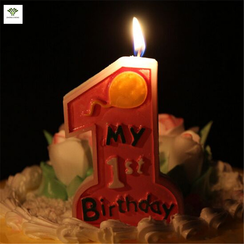1PCS My 1st Birthday Cake Candle Kids First One Anniversary Party Decor Candles Baby Supplies Topper9cm