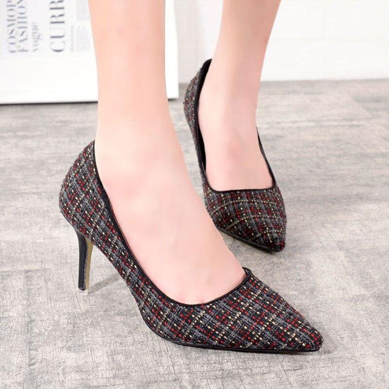 2016 New Fashion Thin High Heels font b Women b font Pumps Sweet Grid Pointed Toe