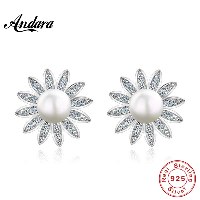<font><b>ANDARA</b></font> New design 6-10mm White Freshwater Pearl Stud Earring for Women High quality 925 Sterling Silver Earrings Pearl Jewelry image