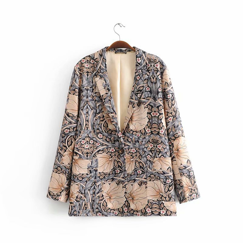 Autumn  Spring Suits Collar Long Sleeves Loose Buckle Thin Medium-and Long-length Suits Women
