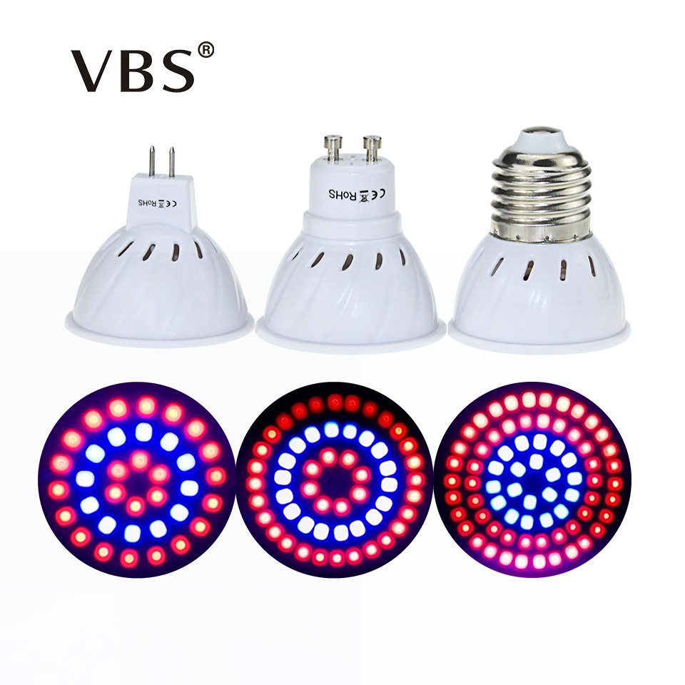 E27 GU10 MR16 Bulb Red + Blue Full Spectrum Led Grow Lamp For Flowering Plant and Hydroponics  Lighting 36 48 72Leds Bulb Lamp 1pc led grow lights e27 15w 3 red 2 blue for flowering plant and hydroponics greenhouse led lamp full spectrum free shipping