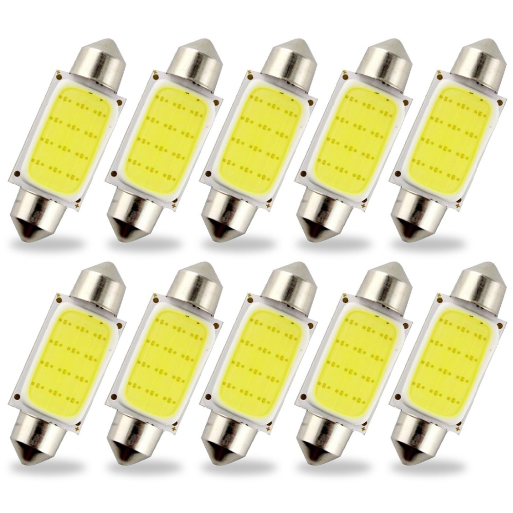 Safego 10 pcs 31mm 36mm 39mm 41/<font><b>42mm</b></font> C5W <font><b>LED</b></font> COB 12 Chips SMD Bulbs Car Festoon Light Auto Interior Dome Light Lamps 12V White
