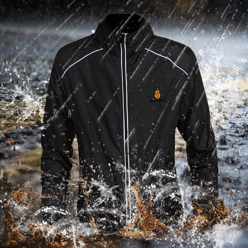 WOSAWE Men's Cycling Jacket Windproof Water repellent Sports Bicycle Outwear Breathable Reflective Riding MTB Bike Clothing