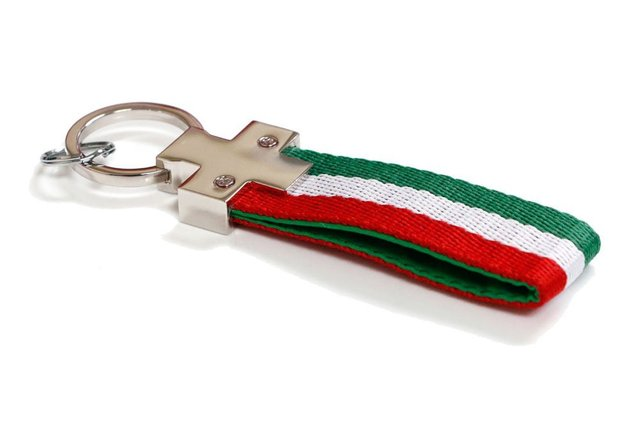 Euro Italian Flag Stripe Nylon Band with Inner Leather Key Fob Chain Keychain Ring For Fiat Ferrari Maserati Lamborghini, etc