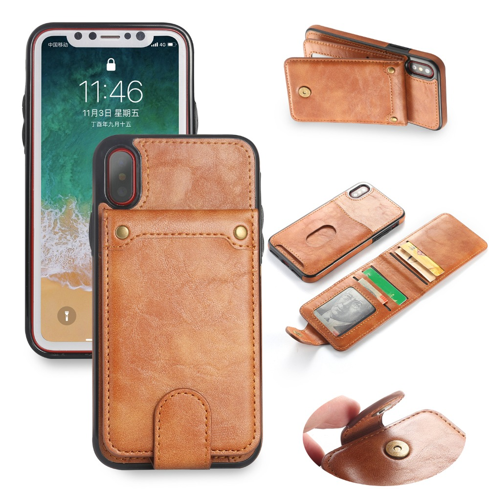 Retro Multifunction Purse Wallet Vintage Leather Case for iPhoneX 8 7 Removable High Quality PU Cover For iPhone 6s 7 8 Plus