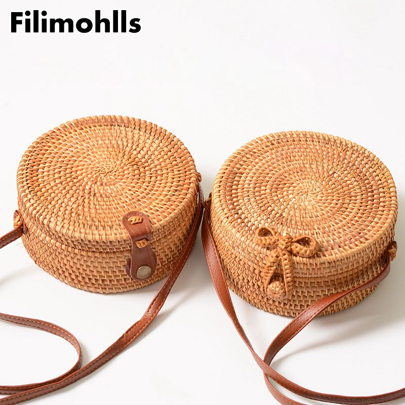 Circle Handbag Straw-Bags Body-Shoulder-Bag Woven Round Beach Summer F-306