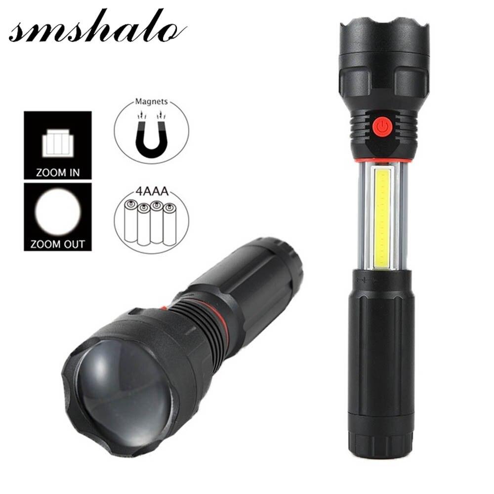 Handliche Leistungsfähige COB LED Fokus Zoombare Taschenlampe Magnet Flash Licht Tasche Camping Lampe El Feneri Zaklamp Eingebaute 3 * AAA