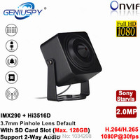1080 P Full HD hi3516d + imx290 H.264 H.265 1/2. 8 SONY starvis сеньор Wi-Fi Wireles миниатюрный IP Камера Булавки отверстие SD слот аудио сигнала тревоги