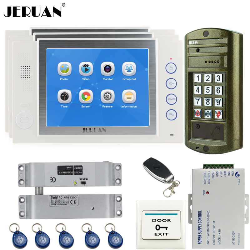 JERUAN 8`` LCD Video Intercom Door Phone System kit 3 Record Monitor + NEW Metal Waterproof Access Password HD Mini Camera