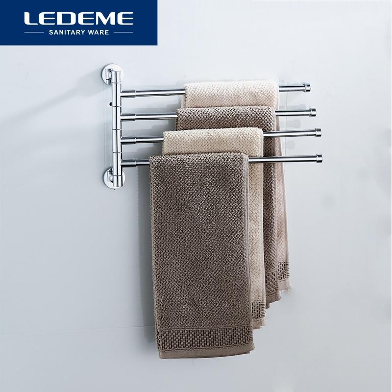 LEDEME Stainless Steel Towel Bar Rotating Towel Rack Bathroom Kitchen Wall-mounted Towel Polished Rack Holder L112 L113 L114