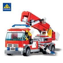 Newest Kazi City Construction Fire Truck Fire Fighting Vehicle Building Blocks 244pcs Fireman Educational Assemble 8053 Bricks