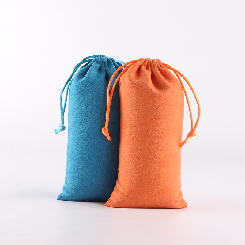 100pcs/lot 9*18cm High Quality Suede Drawstring Pouch Custom Logo Printed Wholesale Price Packing Jewelry Phone Pouch Bag