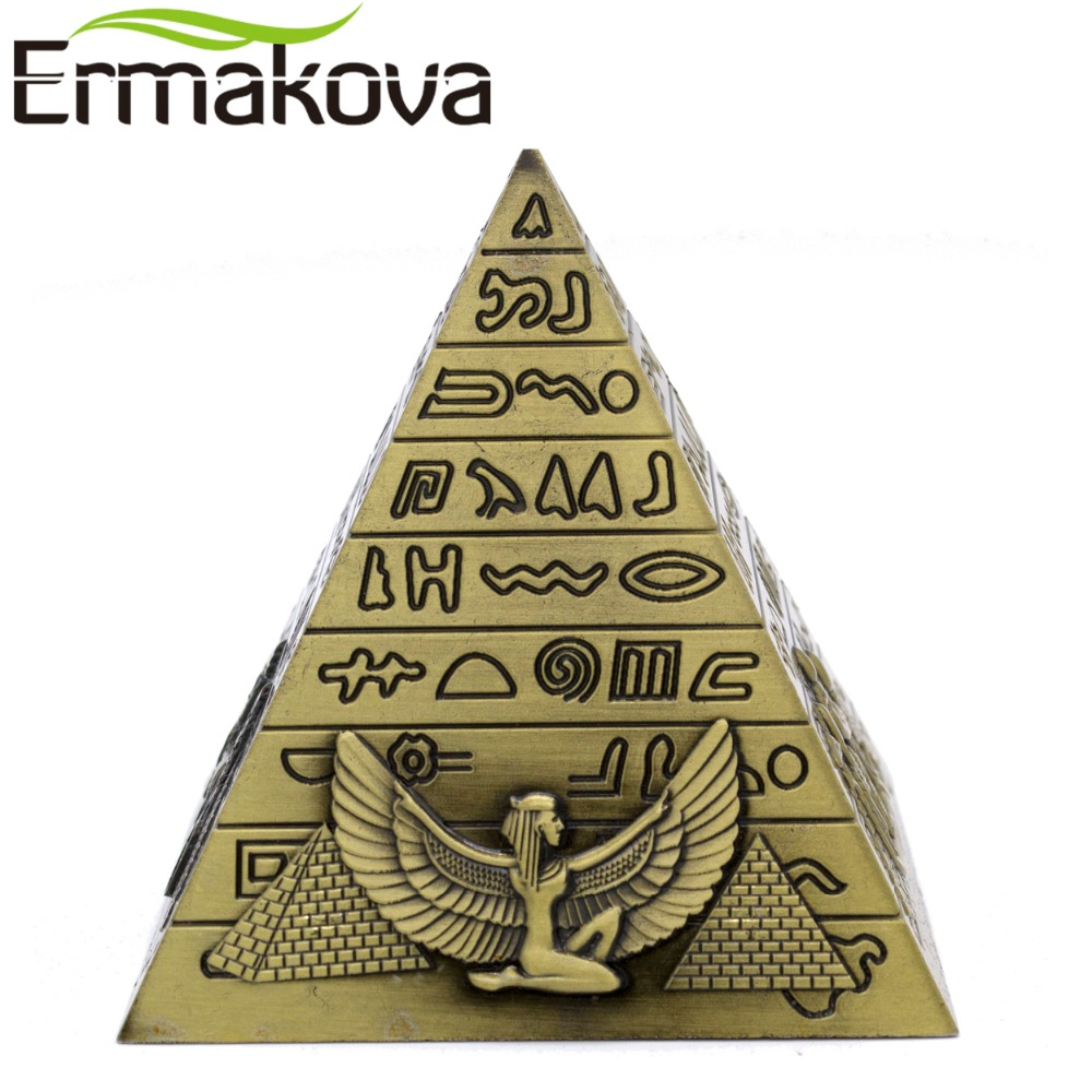 ERMAKOVA Piramid Mesir Piramid Patung Bangunan Patung Pyramid Home Office Desktop Decor Gift Souvenir (Bronze)