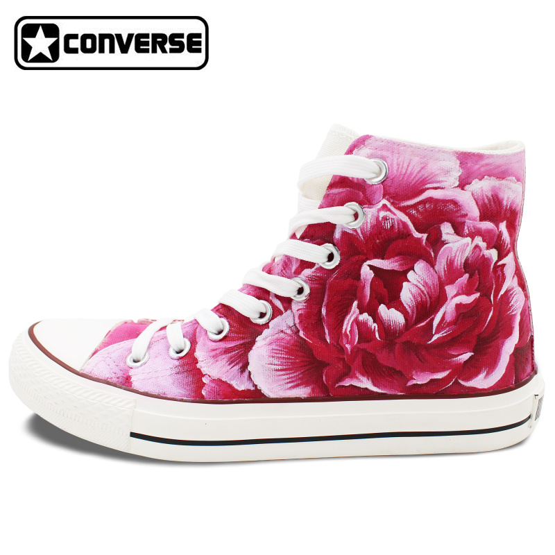 font b Men b font Women s Converse All Star Original Design Carnation Flower Pink