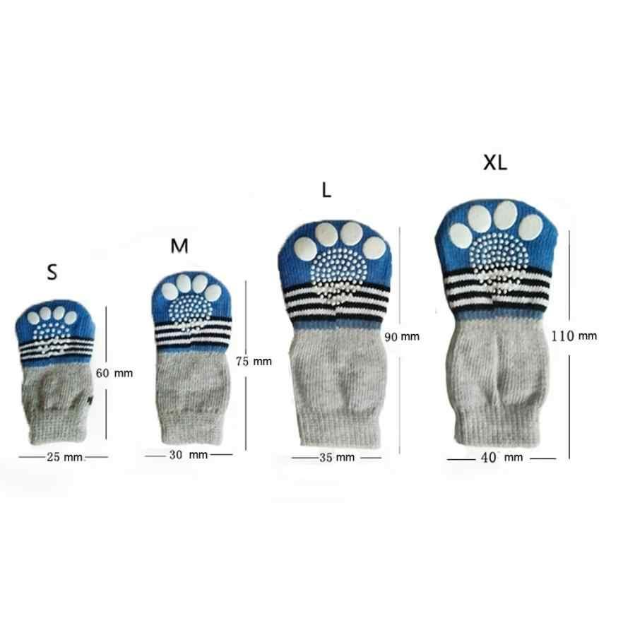 4 Pcs Haustier Hund Socken blau rot grün Hohe Qualität Baumwolle Nette Cartoon Hund Nicht-slip Warme Socken Pet lieferungen farbe zufällig