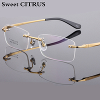 Sweet CITRUS Myopia Brand Pure Titanium Rimless Optics Frames Men S Eyeglasses Frame Clear Glasses For