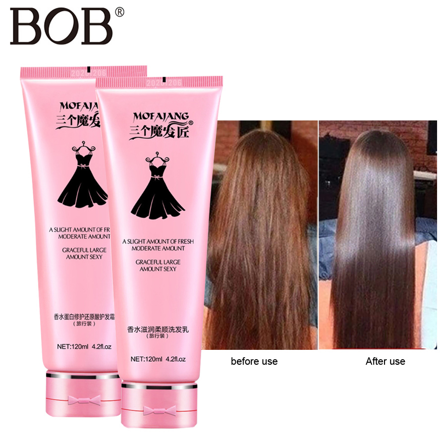 BOB Brand 120ml Shampoo For Hair Conditioners Hair Scalp Treatments Coconut Oil Smoothing Hair Care Set Shampoo straight liquid