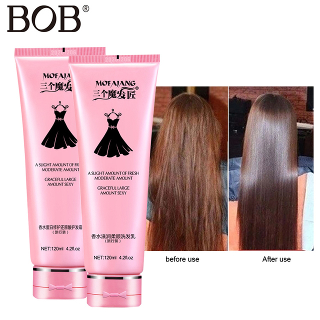 BOB marca 120 ml champú para acondicionadores de cabello tratamiento de cuero cabelludo aceite de coco alisado el cuidado del cabello juego de champú líquido recto