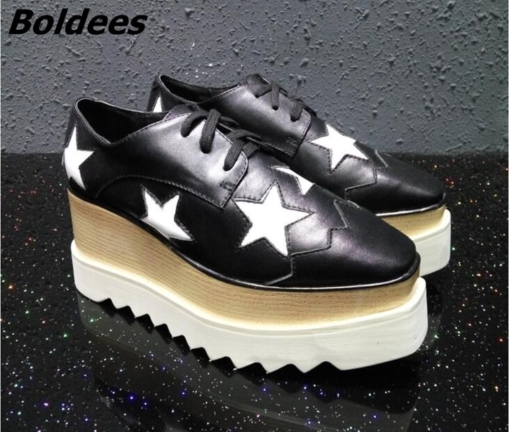 Aliexpress.com   Buy Spring Summer Champagne Star High Platform Shoes Lace  up Casual Sponge Shoes For Women height Increasing shoes from Reliable  platform ... 048cc18e435a