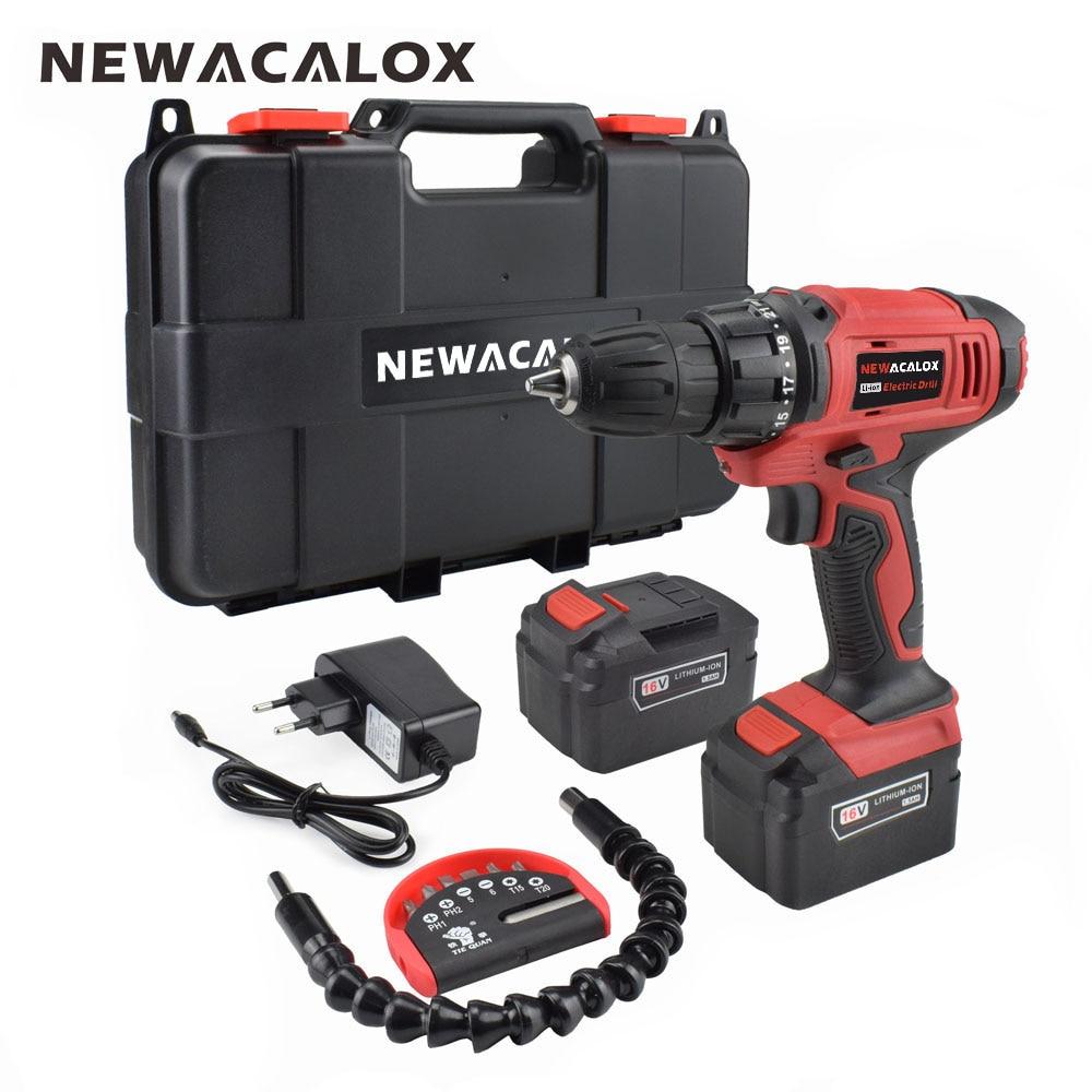 NEWACALOX EU 16V Max DC Cordless Electric Drill Household Lithium Battery Set Wireless Screwdriver Drill DIY