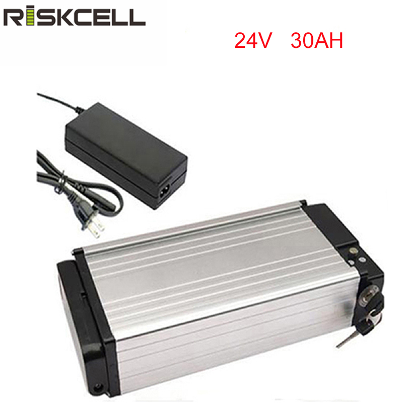 Hot sale rear rack lithium battery 24v 30Ah ebike li-ion battery 24v rechargeble battery for electric bicycle with charger