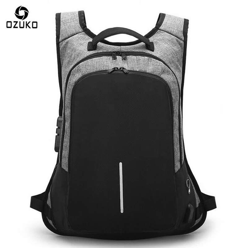 OZUKO Men Backpack Fashion USB Charging Password Lock Anti theft Waterproof Student Designer Laptop Backpack Women