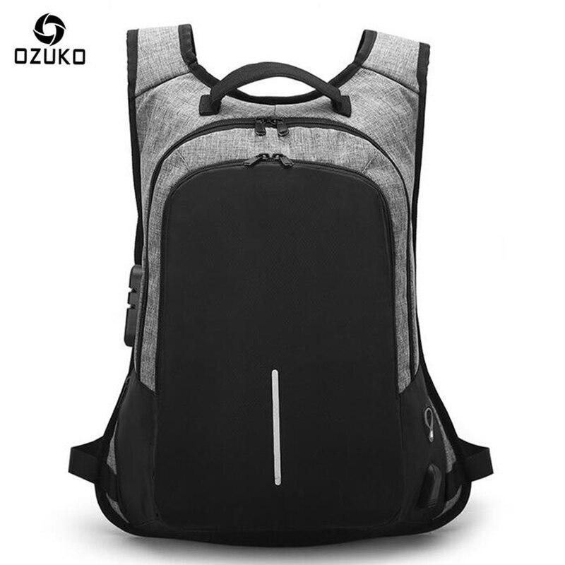 Ozuko男性バックパックファッションusb充電パスワードロック盗難防止防水学生デザイナーラップトップバックパック女性スクールバッグ  グループ上の スーツケース & バッグ からの バックパック の中 1