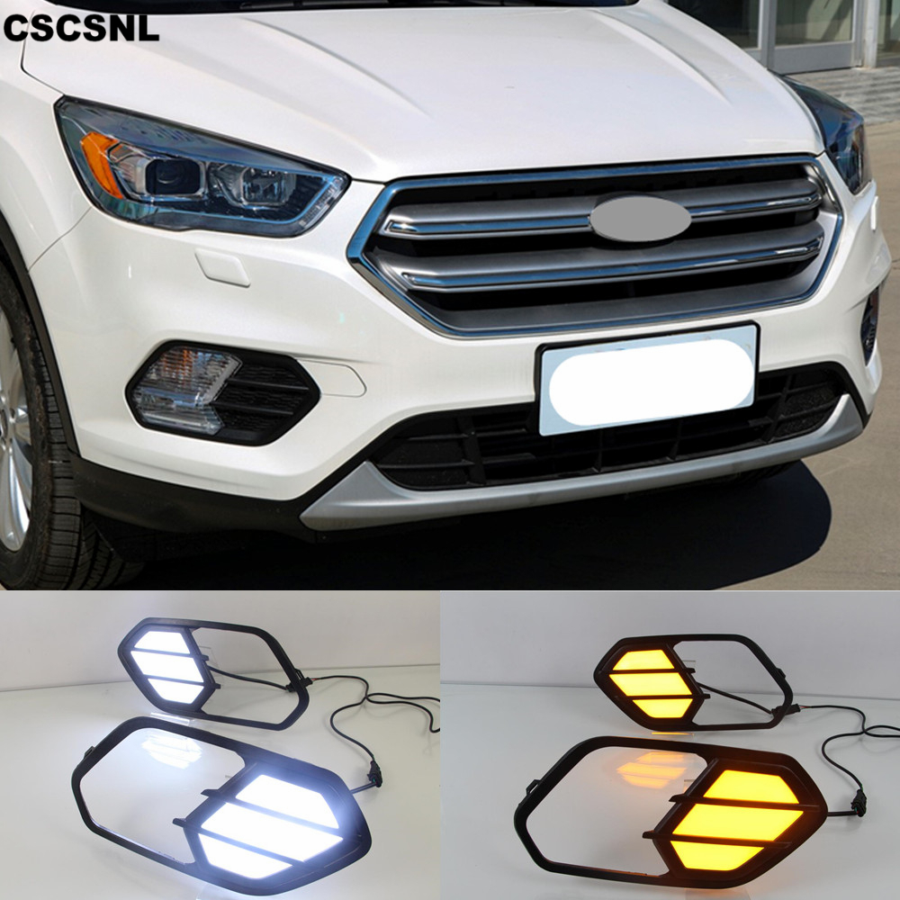CSCSNL 2PCS For Ford Escape Kuga 2016 2017 2018 Turn Signal Relay Waterproof Car DRL Lamp
