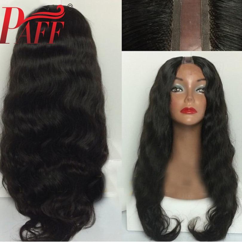 PAFF Natura Wavy Human Hair U Part Wig Glueless Brazilian Remy Hair Natural Black Color1 3