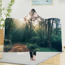 Yoga mat Hooded Blanket Cloak Magic Hat Thick Double-layer Plush 3D Digital Printing Forest Trees Series