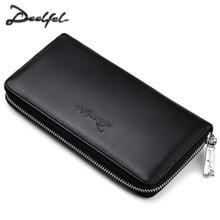 DEELFEL модные Для мужчин длинный кошелек PU кожаный кошелек удобная сумка для мужчин Элитный бренд черный на молнии портмоне и кошельки Для мужчин клатч сумка