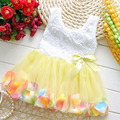 New 2017 Baby Girls Dresses Beautiful Flower Dress Sleeveless in Baby Girls Clothing and Mini Princess Dress Pleated Cute Style