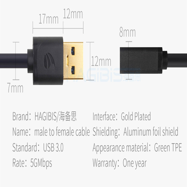 Hagibis USB3.0 Extension Cable Super Speed Male to Female 1m Data Sync Cable USB 3.0 Extender for Computer PC Hard Disk Data Cables
