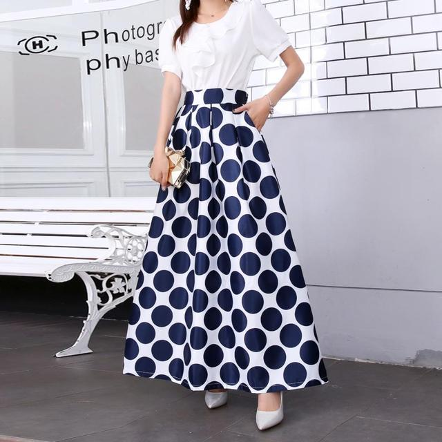Plus size Maxi Skirt Summer Fashion Vintage High Street A-line High Waist Floral Polka Dot Long Skirts for Women 2020 Jupe Longa 17