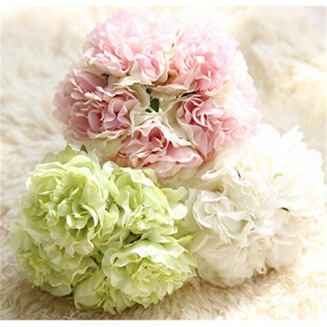 Peony Hydrangea Artificial Flowers Wedding Bouquet Rose Bridal ...