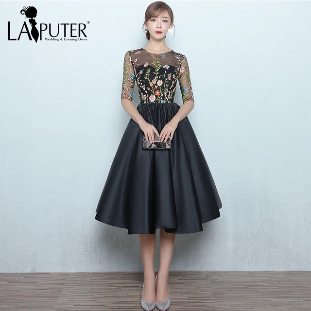 Aliexpress.com : Buy Fashion O neck Zipper Back Tea length Ball Gown ...