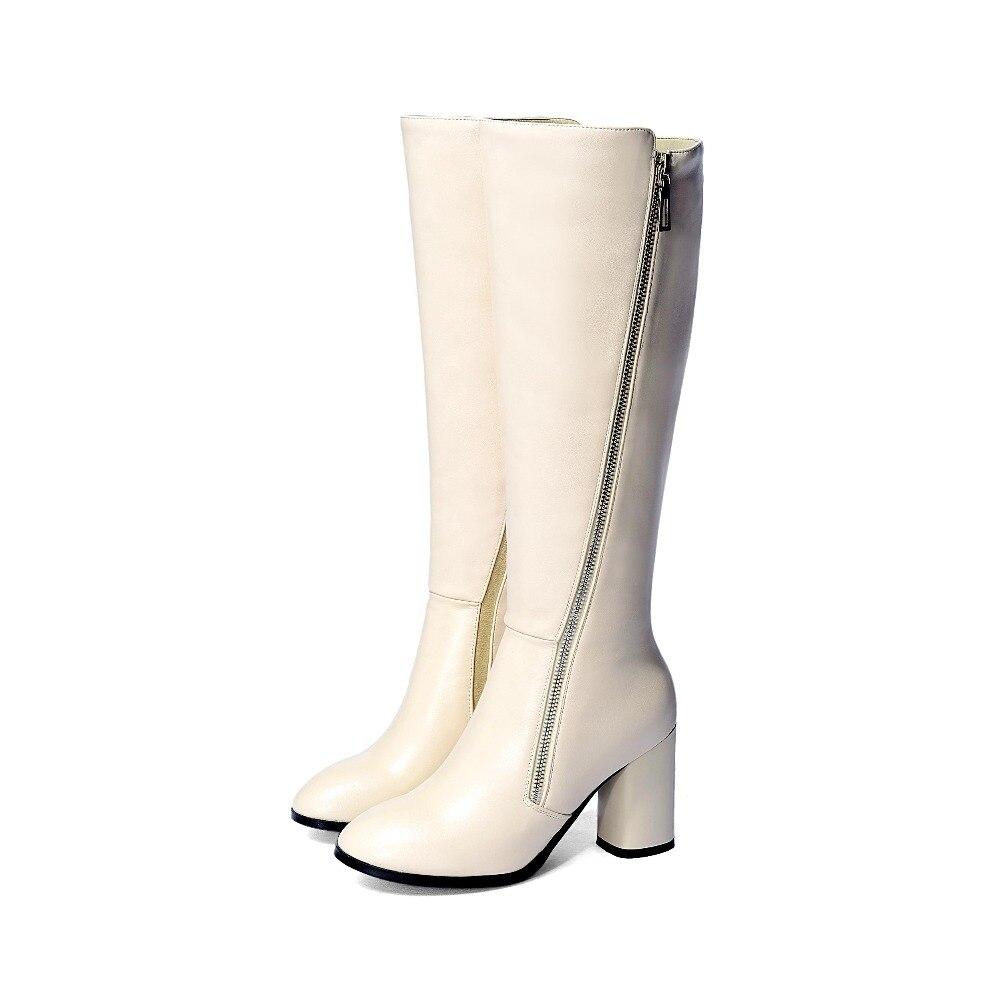 Altos Zapatos De Invierno Tamaño Las negro L16 Rodilla Grande Cremallera Nuevo Mujeres Botas Beige La Alta Tacones Con Oficina Señora Mantener Caliente Hasta 2018 Calidad Altas UIH0wqx